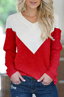 V Neck  Patchwork Sweaters