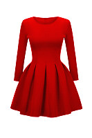 Stylish Round Neck 2 Colors Plain Skater-Dress