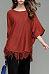 Round Neck  Fringe  Batwing Sleeve Sweaters
