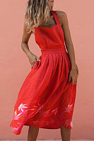 Ladies Casual Red Long Dress