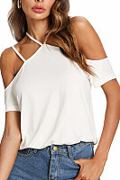 Halter  Backless  Plain  Casual T-Shirts