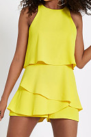 Crew Neck  Asymmetric Hem  Cascading Ruffles  Plain  Sleeveless  Playsuits