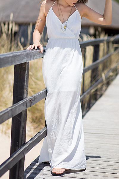 Asymmetric Neck  Plain Maxi Dresses
