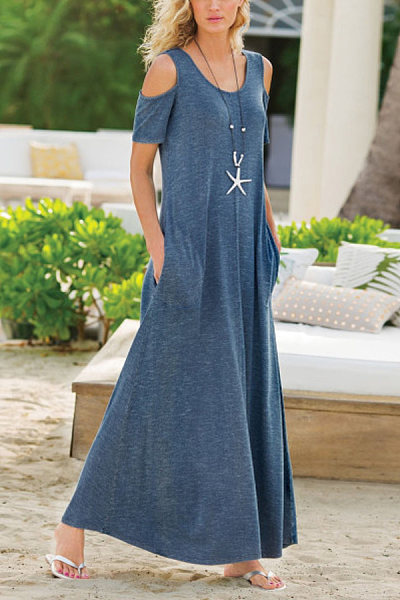 Solid Color Pocket Knitted Maxi Dress