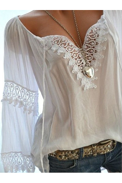 Autumn Spring  Cotton  Women  Tie Collar  Decorative Lace  Hollow Out Plain  Long Sleeve Blouses