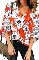 V Neck Floral Bell Sleeve Blouse