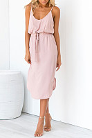 Spaghetti Strap  Elastic Waist  Plain  Sleeveless Maxi Dresses