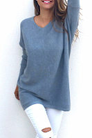 Fashionable V-Neck Long Sleeved  Thin  Sweater