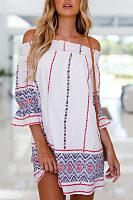 Off Shoulder  Printed  Long Sleeve Casual Dresses
