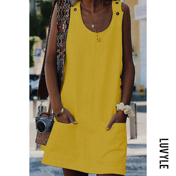 Yellow Fashion Pure Vest Pocket Casual Dress Yellow Fashion Pure Vest Pocket Casual Dress