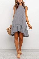 Casual Round Neck Sleeveless Striped Dress