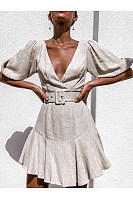 V-Neck Ruffled Lantern Sleeve Dress