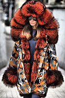 Noble Temperament Camouflage Stitching Imitation Mink Thick Fluffy Coat