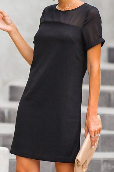 90f3527df03 Round Neck Patchwork Plain Short Sleeve Casual Dresses - Luvyle.com