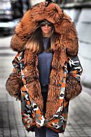 Fashion camouflage warm hooded big fur collar down Fluffy Coat