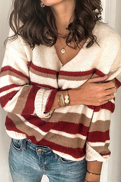 Women Loose V-neck Striped Casual Sweater