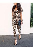 Sexy Leopard Print V Neck Long Sleeve Jumpsuits