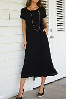 Round Neck  Plain  Short Sleeve Maxi Dresses