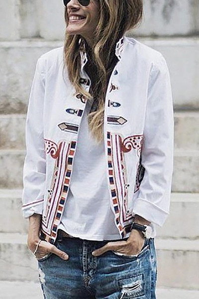Fashion Stand-Up Collar Print Jacket