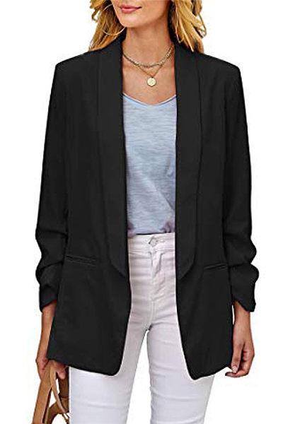 Commuting Turndown Collar Slim Long Sleeve Pure Color Wild Blazer