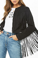 Band Collar  Fringe  Plain Cardigans