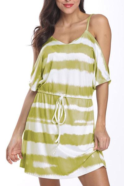 Spaghetti Strap  Striped  Short Sleeve Bodycon Dresses