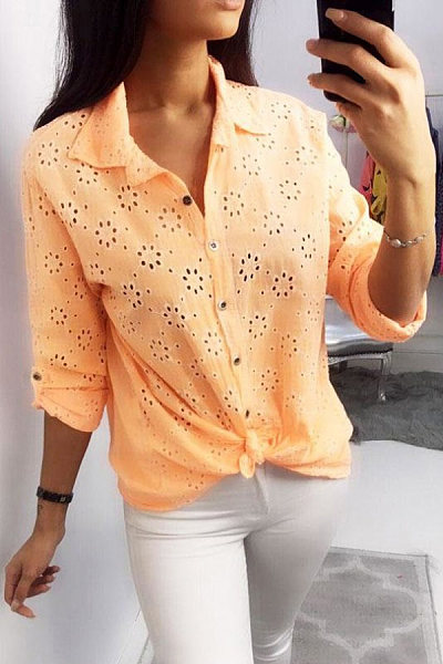 Casual Flowers Hollow Solid Long-Sleeved Shirt