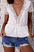 Deep V Neck  Lace Plain  Blouses