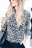 Fashion Lapel Leopard Printed Button Blouses