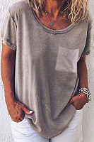 Round Neck  Loose Fitting  Plain T-Shirts
