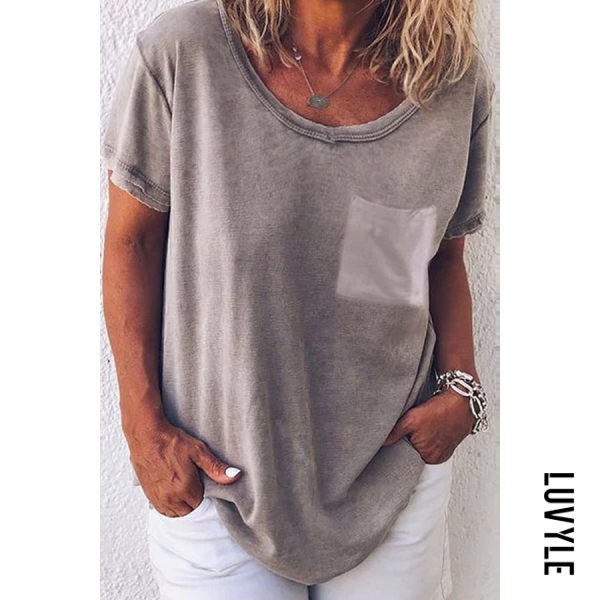 Light Gray Round Neck Loose Fitting Plain T-Shirts Light Gray Round Neck Loose Fitting Plain T-Shirts