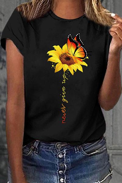 Casual Round Collar Butterfly Sun Flower Short Sleeve T-Shirt