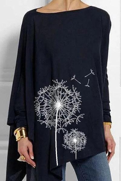 Women's round neck loose print T-shirt