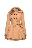Charming Fold-Over Collar  Double Breasted Swing Coat