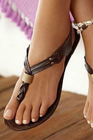 SOCOFY Plain  Flat  T Strap  Peep Toe  Casual Outdoor Gladiator Sandals