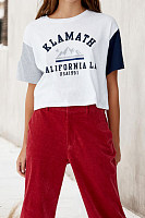 Round Neck  Patchwork  Letters T-Shirts