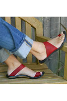 Plain  Flat  Peep Toe  Casual Travel Comfort Slippers