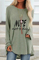 Letters Round Neck Loose T-shirt