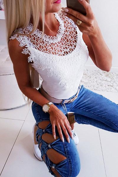 Round Neck  Decorative Lace  Plain T-Shirts