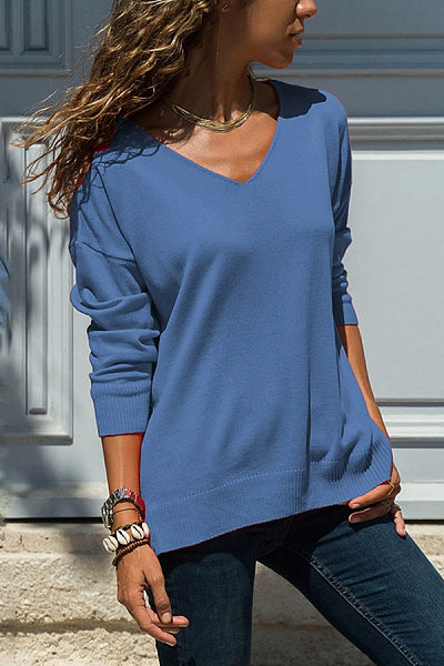 New Solid Color Comfortable V-Neck Pullover
