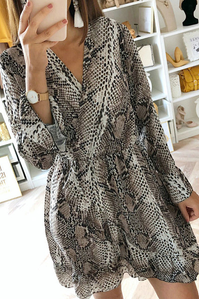 V Neck  Animal Printed  Long Sleeve Skater Dresses