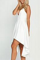 Deep V Neck Spaghetti Strap  Asymmetric Hem  Plain  Sleeveless Maxi Dresses
