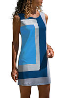 Round Neck  Patchwork  Sleeveless Casual Dresses