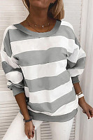 Striped Round Neck Casual Sweatshirt