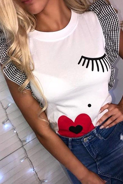 Round Neck  Patchwork Printed T-Shirts