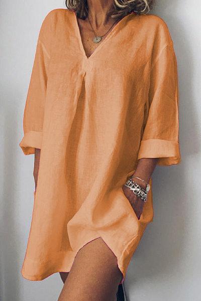 V-Neck  Linen Plain Shift Dress