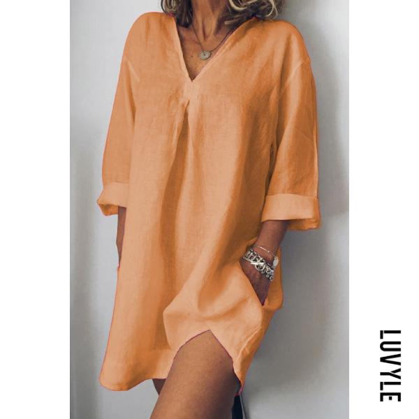 Orange V-Neck Linen Plain Shift Dress Orange V-Neck Linen Plain Shift Dress