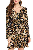 V Neck  Leopard Printed  Long Sleeve Bodycon Dresses