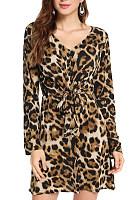 V Neck  Leopard Printed  Long Sleeve Bodycon Dresses
