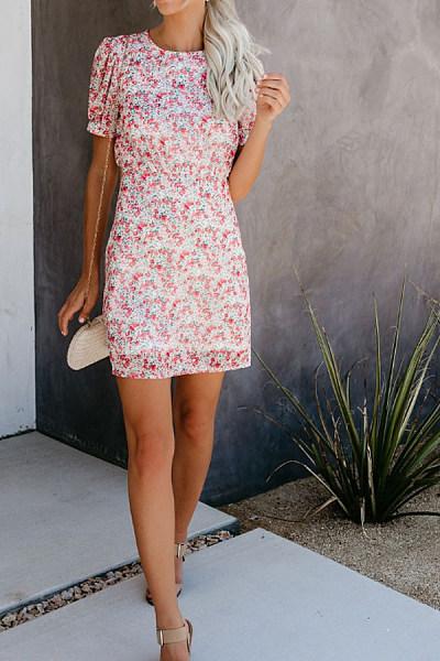 Round Neck  Print  Short Sleeve Bodycon Dresses